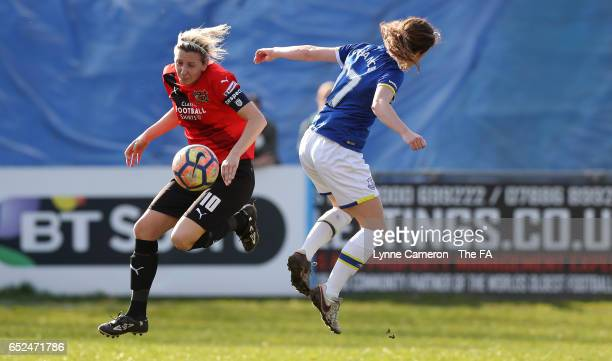 Carla Ward of Sheffield FC Ladies and Olivia Chance of Everton Ladies during the match between Sheffield FC Ladies and Everton Ladies on March 12...