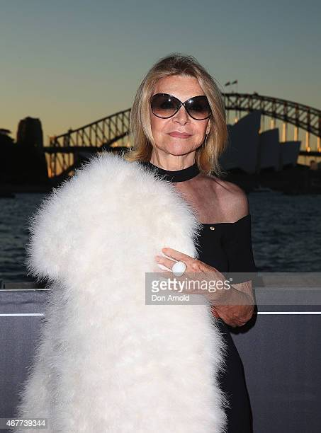Carla Zampatti attends Handa Opera's Aida opening night at the Fleet Steps on March 27 2015 in Sydney Australia
