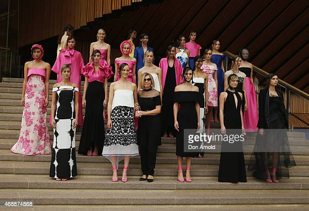 Carla Zampatti poses alongside models during her 50th anniversary show at Sydney Opera House on April 8 2015 in Sydney Australia
