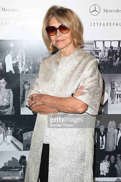 Carla Zampatti poses at the schedule launch of MercedesBenz Fashion Week Australia 2015 on March 9 2015 in Sydney Australia