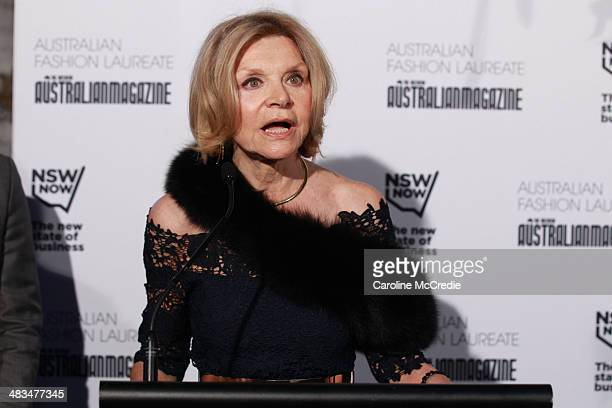 Carla Zampatti speaks at the Australian Fashion Laureate during MercedesBenz Fashion Week Australia 2014 at Star Lounge Carriageworks on April 9 2014...
