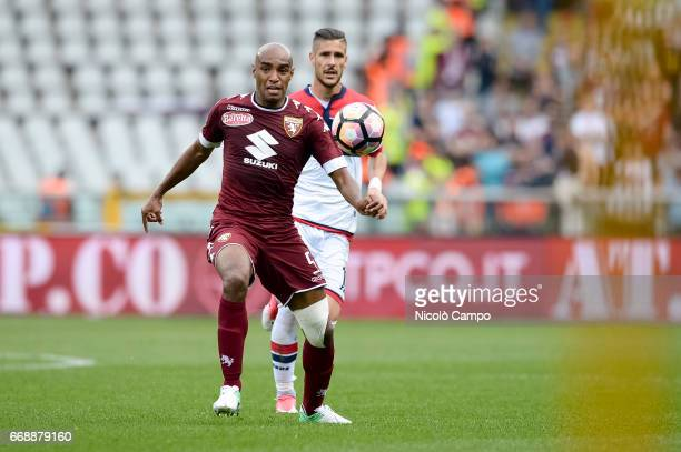 Carlao of Torino FC and Diego Falcinelli of FC Crotone compete for the ball during the Serie A football match between Torino FC and FC Crotone Final...