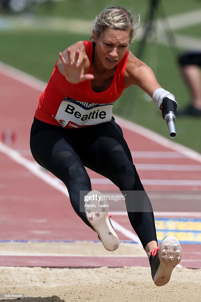 Carlee Beattie of QAS competes in the womens long jump (Ambulant 13) during the IPC Athletics Grand Prix on February 6, 2016 in Canberra, Australia.