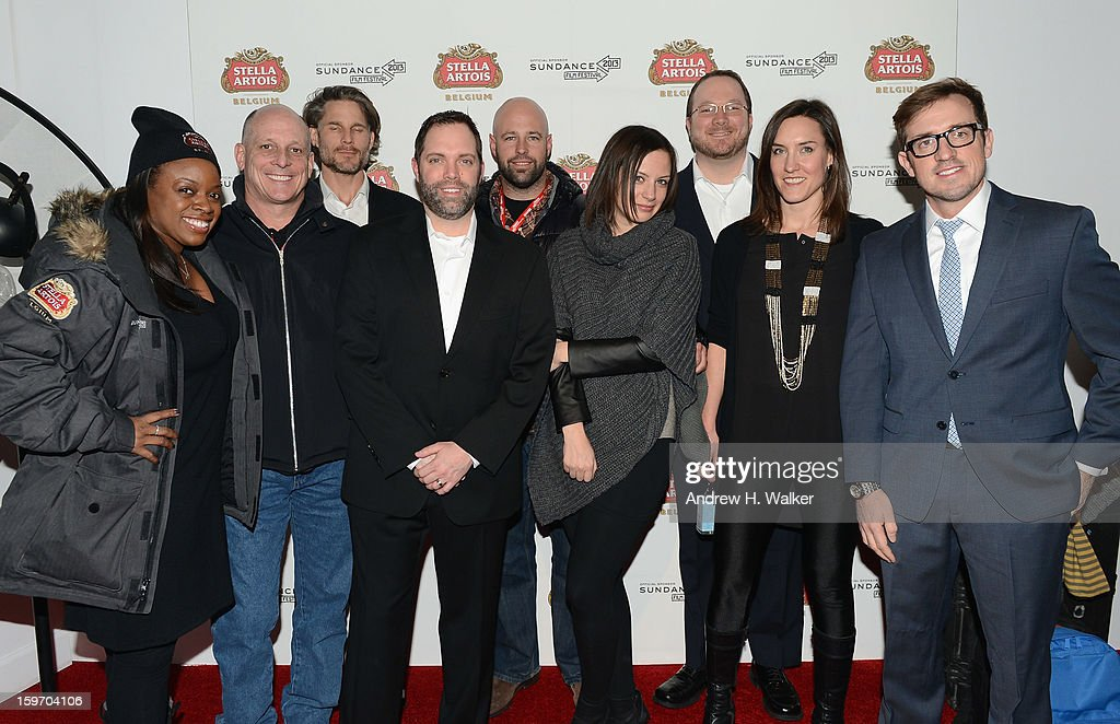 Carlene Rowe, Rich Dangos, Noah Huntley, Rick Oleshak, Mike Kelley, Emma Fox, Chris Hanson, Lana Pawziuk and Joe Muehlenkamp attend the Stella Artois launch of the Timeless Beauty Campaign shot by legendary photographer, Annie Leibovitz at Village at the Lift on January 18, 2013 in Park City, Utah.