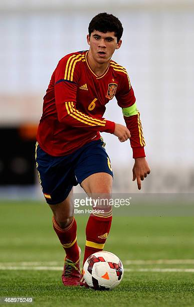 Carles Alena of Spain in action during a U16 International match between Spain and Belgium at St Georges Park on February 11 2014 in BurtonuponTrent...