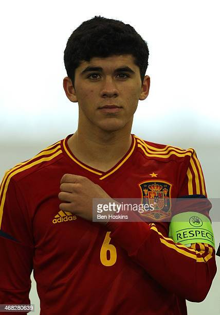 Carles Alena of Spain looks on ahead of a U16 International match between England and Spain at St Georges Park on February 9 2014 in BurtonuponTrent...