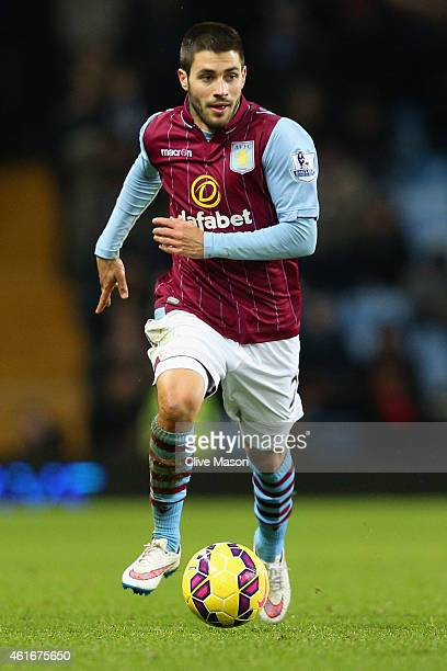 Carles Gil de Pareja Vicent of Aston Villa on the ball during the Barclays Premier League match between Aston Villa and Liverpool at Villa Park on...