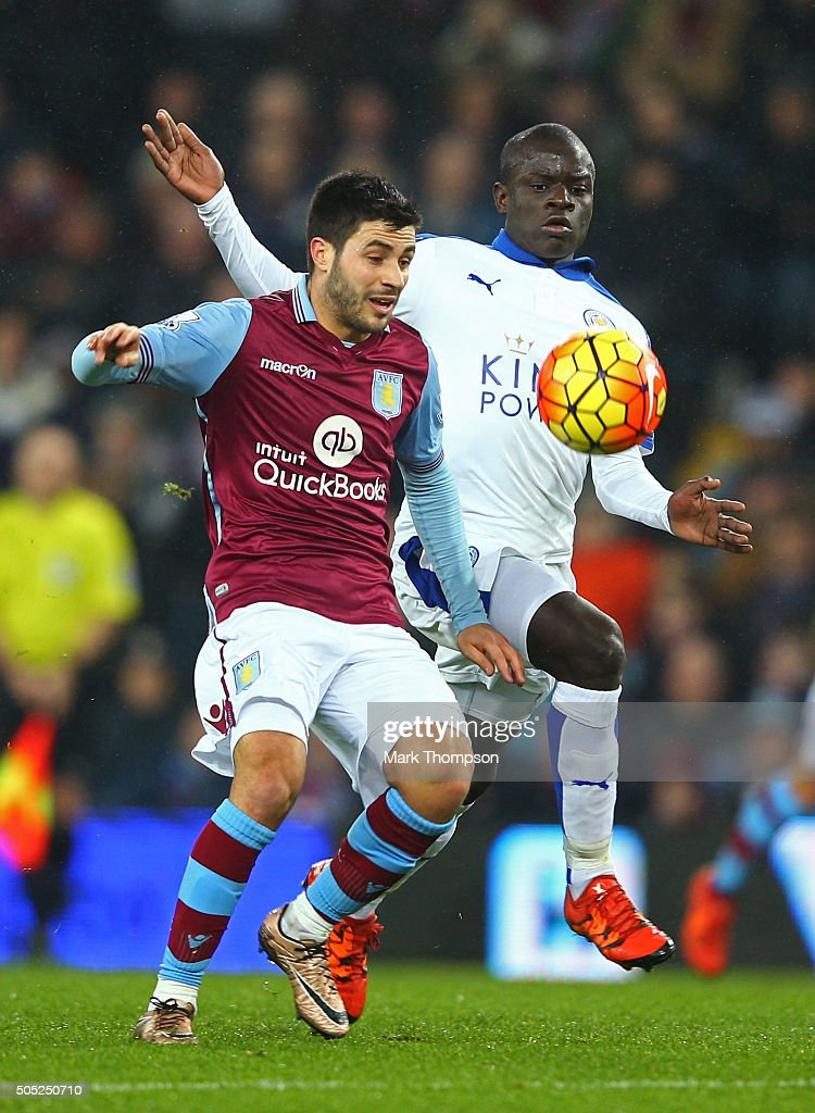Carles Gil of Aston Villa and Ngolo Kante of Leicester City compete for the ball during the Barclays Premier League match between Aston Villa and Leicester City at Villa Park on January 16, 2016 in Birmingham, England.
