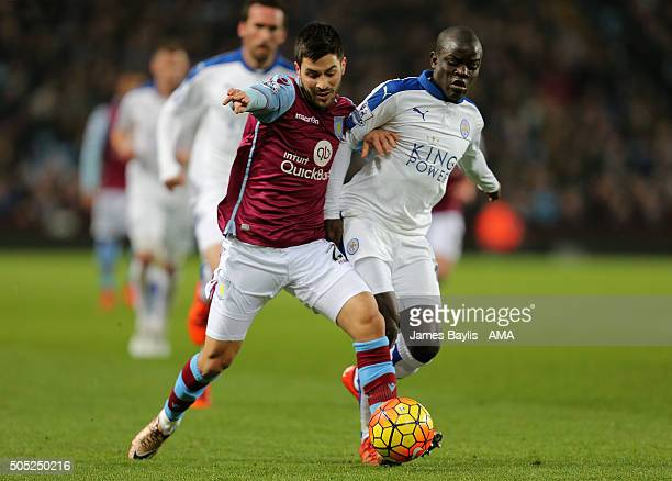 Carles Gil of Aston Villa and N'Golo Kante of Leicester City during the Barclays Premier League match between Aston Villa and Leicester City at Vila...