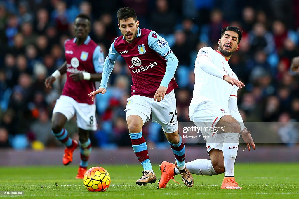 <a gi-track='captionPersonalityLinkClicked' href=/galleries/search?phrase=Carles+Gil&family=editorial&specificpeople=9437163 ng-click='$event.stopPropagation()'>Carles Gil</a> of Aston Villa battles for the ball with <a gi-track='captionPersonalityLinkClicked' href=/galleries/search?phrase=Emre+Can&family=editorial&specificpeople=5909273 ng-click='$event.stopPropagation()'>Emre Can</a> of Liverpool during the Barclays Premier League match between Aston Villa and Liverpool at Villa Park on February 14, 2016 in Birmingham, England.