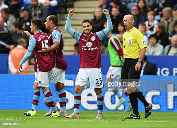 Carles Gil of Aston Villa celebrates as he scores their second goal during the Barclays Premier League match between Leicester City and Aston Villa...