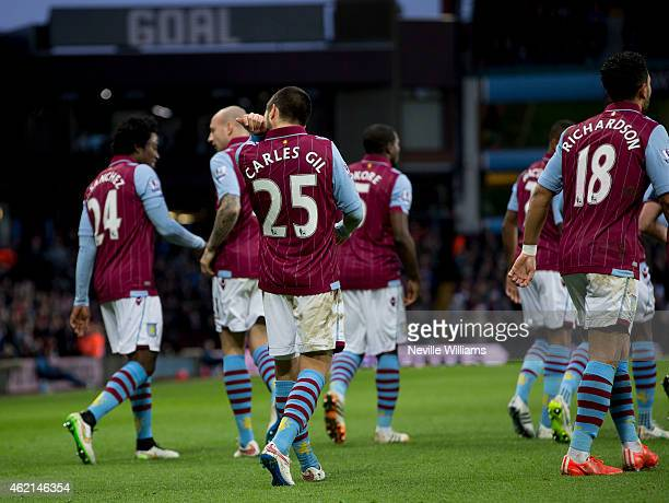 Carles Gil of Aston Villa celebrates his goal for Aston Villa during the FA Cup Fourth Round match between Aston Villa and AFC Bournemouth at Villa...
