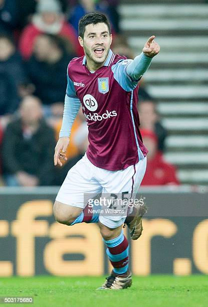 Carles Gil of Aston Villa celebrates his goal for Aston Villa during the Barclays Premier League match between Sunderland and Aston Villa at the...