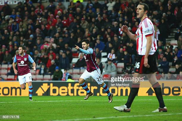 Carles Gil of Aston Villa celebrates scoring his team's first goal during the Barclays Premier League match between Sunderland and Aston Villa at...