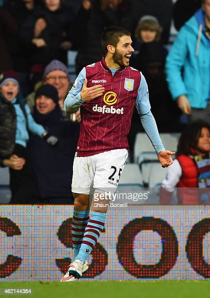 Carles Gil of Aston Villa celebrates scoring the opening goal during the FA Cup Fourth Round match between Aston Villa and AFC Bournemouth at Villa...