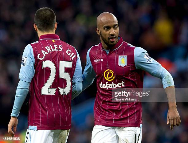 Carles Gil of Aston Villa during the Barclays Premier League match between Aston Villa and Liverpool at Villa Park on January 17 2015 in Birmingham...