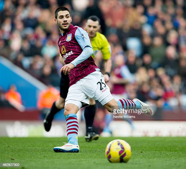 Carles Gil of Aston Villa during the Barclays Premier League match between Aston Villa and Chelsea at Villa Park on February 07 2015 in Birmingham...