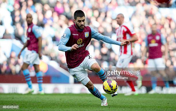 Carles Gil of Aston Villa during the Barclays Premier League match between Aston Villa and Stoke City at Villa Park on February 21 2015 in Birmingham...