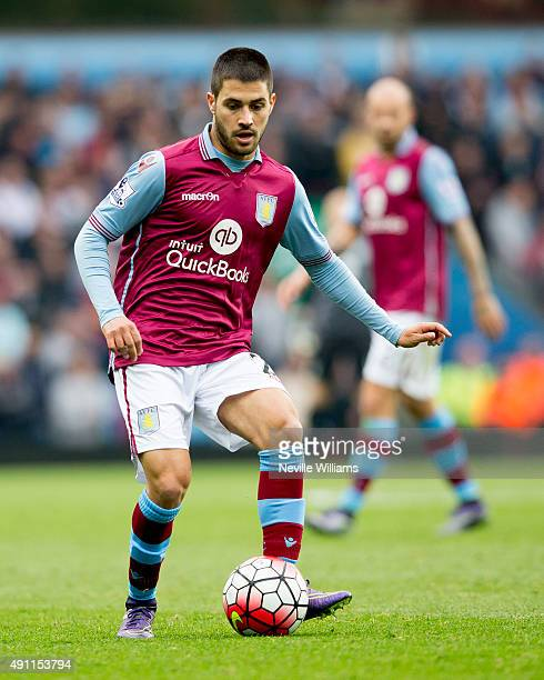 Carles Gil of Aston Villa during the Barclays Premier League match between Aston Villa and Stoke City at Villa Park on October 03 2015 in Birmingham...