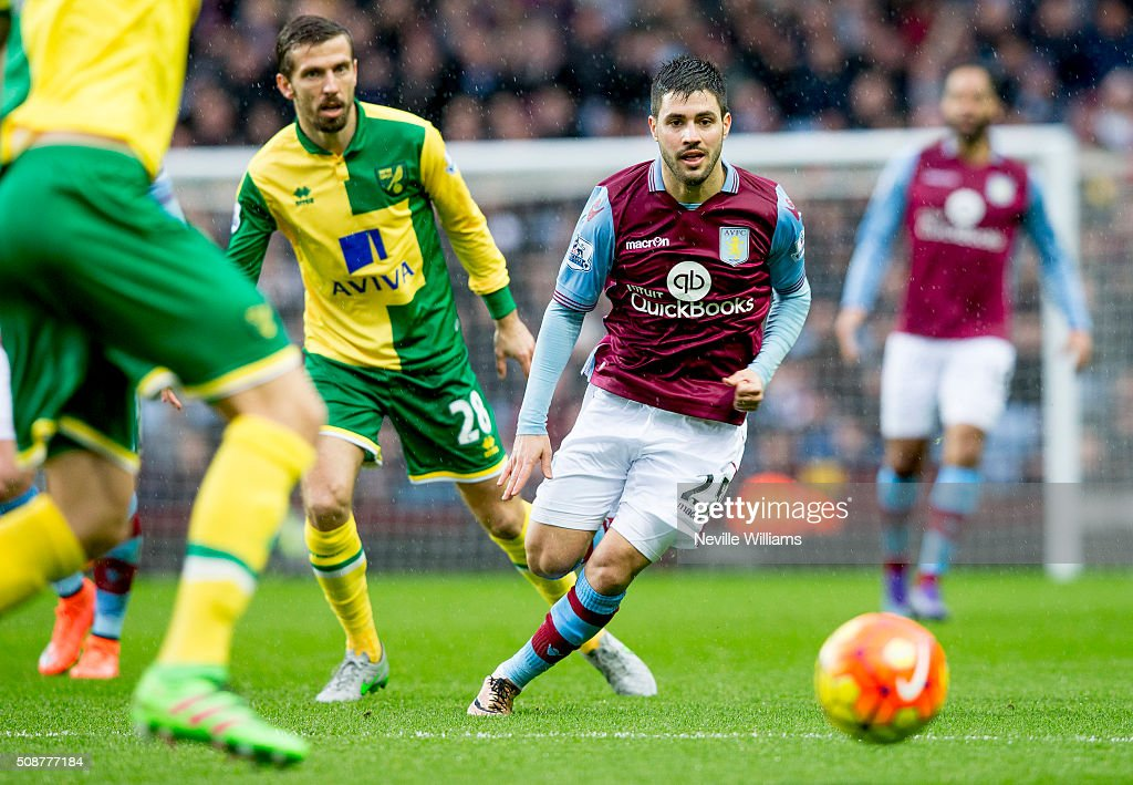Carles Gil of Aston Villa during the Barclays Premier League match between Aston Villa and Norwich City at Villa Park on February 06, 2016 in Birmingham, England.
