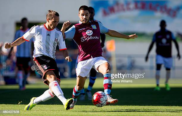 Carles Gil of Aston Villa during the pre season friendly match between Aston Villa and Fulham at the Estadio da Nora on July 11 2015 in Albufeira...
