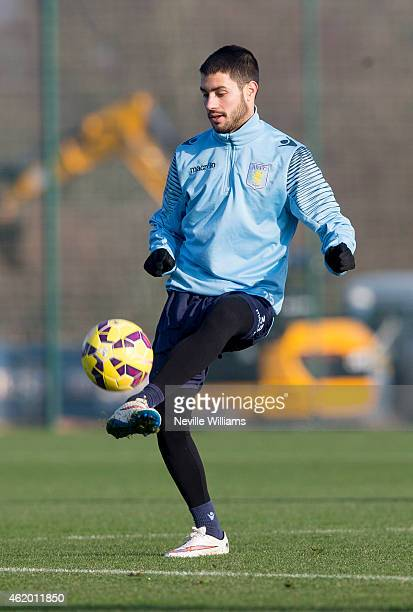 Carles Gil of Aston Villa in action during a Aston Villa training session at the club's training ground at Bodymoor Heath on January 23 2015 in...