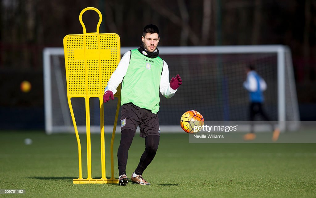 <a gi-track='captionPersonalityLinkClicked' href=/galleries/search?phrase=Carles+Gil&family=editorial&specificpeople=9437163 ng-click='$event.stopPropagation()'>Carles Gil</a> of Aston Villa in action during a Aston Villa training session at the club's training ground at Bodymoor Heath on February 12, 2016 in Birmingham, England.