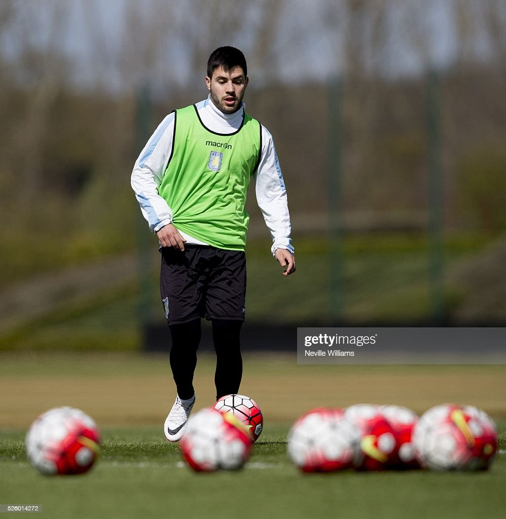 Carles Gil of Aston Villa in action during a Aston Villa training session at the club's training ground at Bodymoor Heath on April 29, 2016 in Birmingham, England.