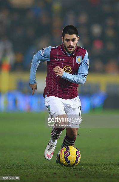 Carles Gil of Aston Villa in action during the Barclays Premier League match between Hull City and Aston Villa at KC Stadium on February 10 2015 in...