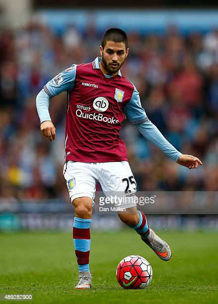 Carles Gil of Aston Villa in action during the Barclays Premier League match between Aston Villa and West Bromwich Albion at Villa Park on September...