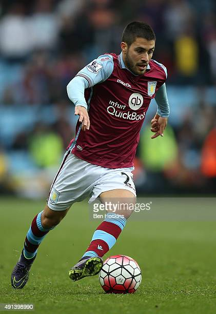 Carles Gil of Aston Villa in action during the Barclays Premier League match between Aston Villa and Stoke City at Villa Park on October 3 2015 in...