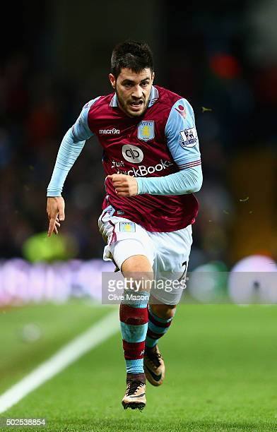 Carles Gil of Aston Villa in action during the Barclays Premier League match between Aston Villa and West Ham United at Villa Park on December 26...