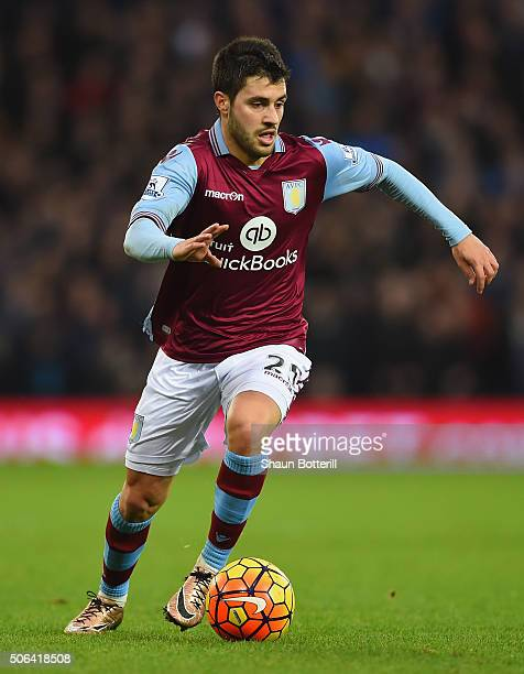 Carles Gil of Aston Villa in action during the Barclays Premier League match between West Bromwich Albion and Aston Villa at The Hawtorns on January...