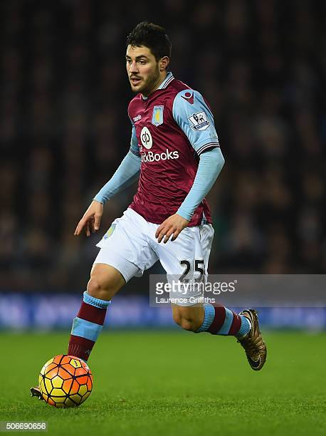 Carles Gil of Aston Villa in action during the Barclays Premier League match between West Bromwich Albion and Aston Villa at The Hawthorns on January...