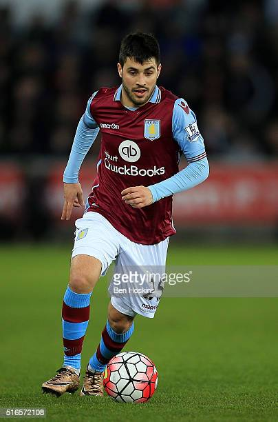 Carles Gil of Aston Villa in action during the Barclays Premier League match between Swansea City and Aston Villa at Liberty Stadium on March 19 2016...