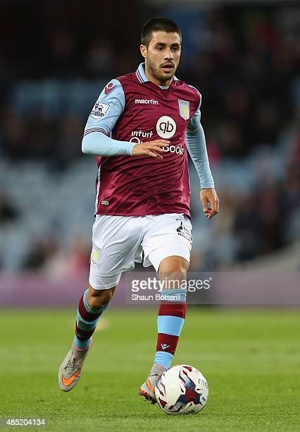 Carles Gil of Aston Villa in action during the Capital One Cup second round match between Aston Villa and Notts County at Villa Park on August 25...