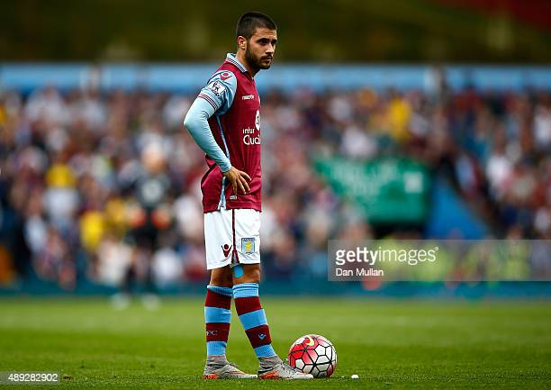 Carles Gil of Aston Villa prepares to take a free kick during the Barclays Premier League match between Aston Villa and West Bromwich Albion at Villa...