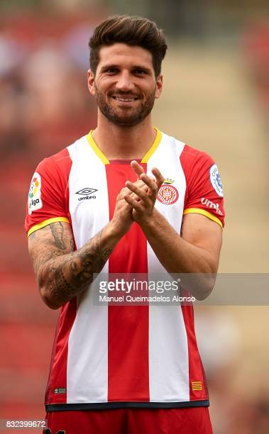 Carles Planas of Girona looks on prior to the preseason friendly match between Girona and Manchester City at Municipal de Montilivi Stadium on August...