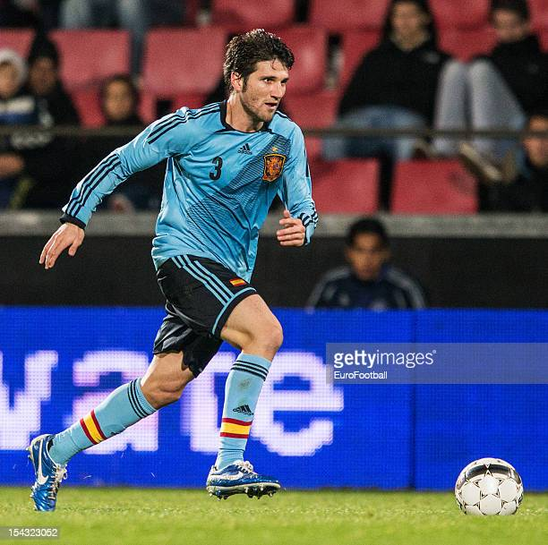 Carles Planas of Spain in action during the UEFA European Under21 Championship playoff second leg match between Denmark and Spain held on October 16...