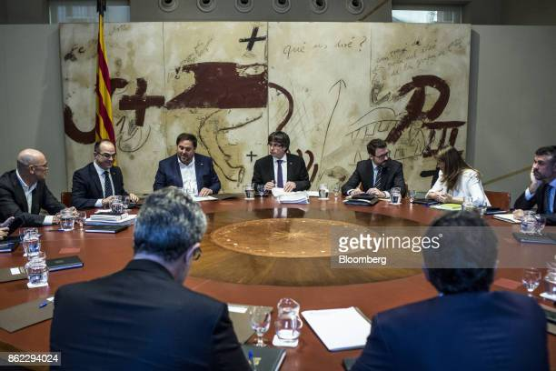 Carles Puigdemont Catalonia's president center Oriol Junqueras leader of Esquerra Republicana de Catalunya center left Jordi Turull Catalonia...