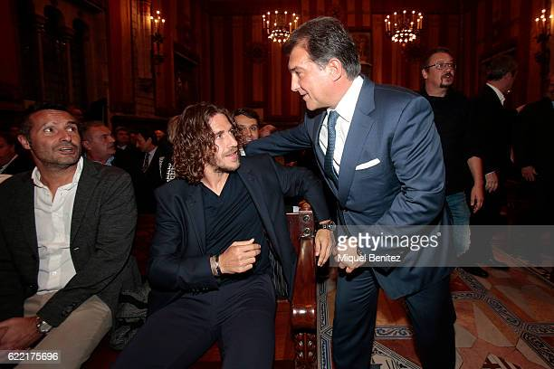 Carles Puyol and Joan Laporta attend the Golden Medal of Merit for Johan Cruyff Event at the Salo de Cent in the Barcelona's town hall on November 10...