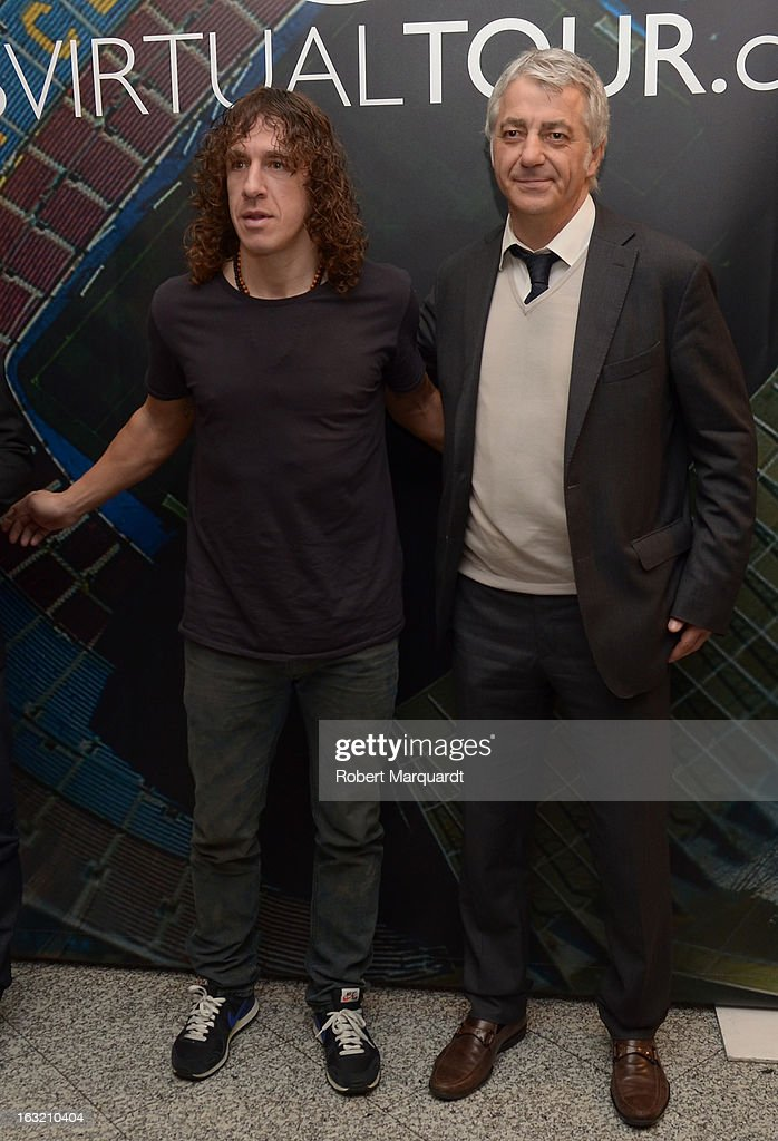 <a gi-track='captionPersonalityLinkClicked' href=/galleries/search?phrase=Carles+Puyol&family=editorial&specificpeople=211383 ng-click='$event.stopPropagation()'>Carles Puyol</a> and Salvador Garcia attend the press presentation of the 'FCBVirtualTour' at Camp Nou on March 6, 2013 in Barcelona, Spain. The online virtual tour will allow users to view and interact with digital content of the Barcelona Football Club facilities.