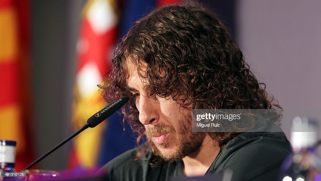 <a gi-track='captionPersonalityLinkClicked' href=/galleries/search?phrase=Carles+Puyol&family=editorial&specificpeople=211383 ng-click='$event.stopPropagation()'>Carles Puyol</a> looks emotional as he gives a press conference to bid farewell to Barcelona FC at the Auditorium 1899 on May 15, 2014 in Barcelona, Spain.