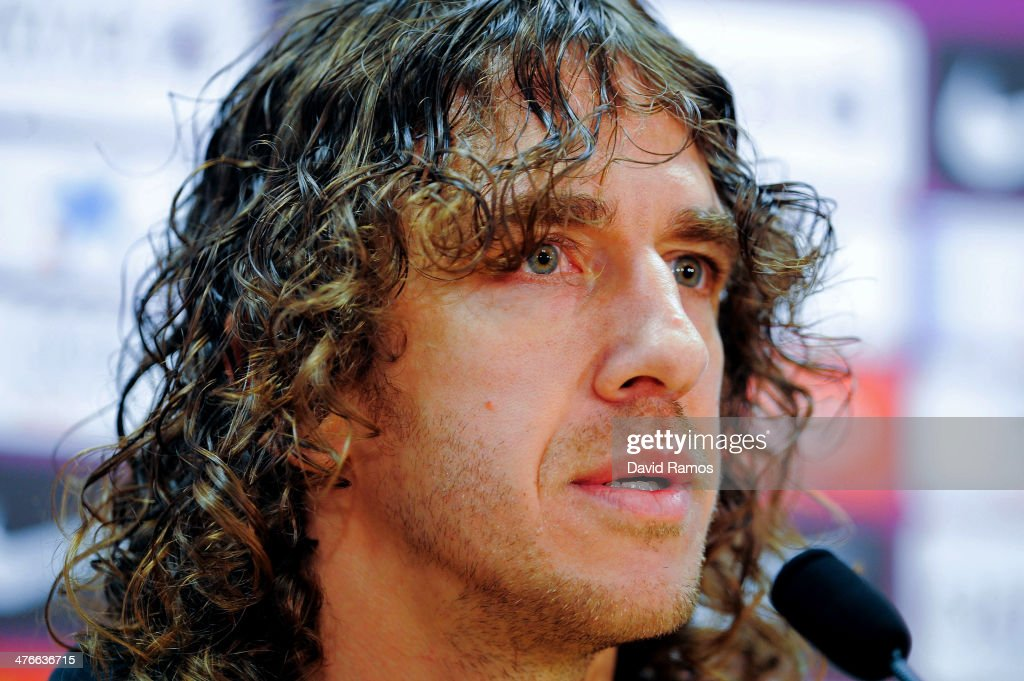 Carles Puyol of FC Barcelona faces the media during a press conference to announce he will be leaving the Catalan club at the end of the season at the Sant Joan Despi Sport Complex on March 4, 2014 in Barcelona, Spain.