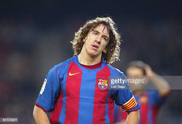 Carles Puyol of FC Barcelona in action during La Liga soccer match between FC Barcelona and Real Mallorca on February 19 2005 at the Camp Nou stadium...