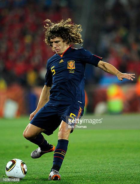 Carles Puyol of Spain during the 2010 FIFA World Cup South Africa Quarter Final match between Paraguay and Spain at Ellis Park Stadium on July 3 2010...