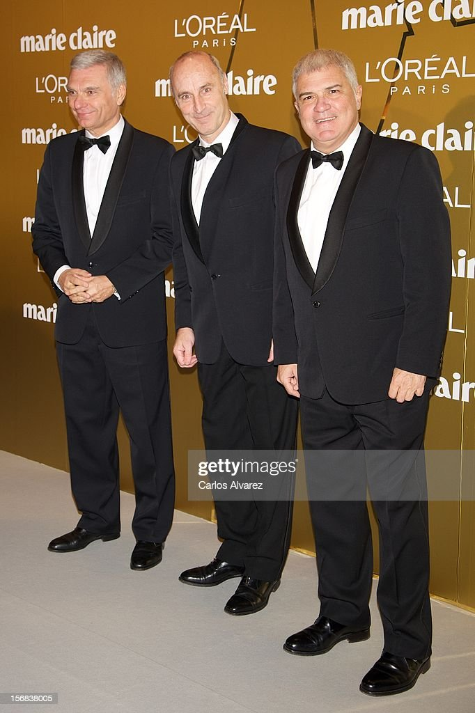 Carles Sans, Paco Mir and Joan Gracia of 'Tricicle' attend Marie Claire Prix de la Moda Awards 2012 at the French Embassy on November 22, 2012 in Madrid, Spain.