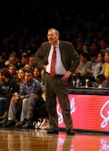 J Carlesimo Head Coach for the Brooklyn Nets against the Houston Rockets during their game at the Barclays Center on February 22 2013 in the Brooklyn...