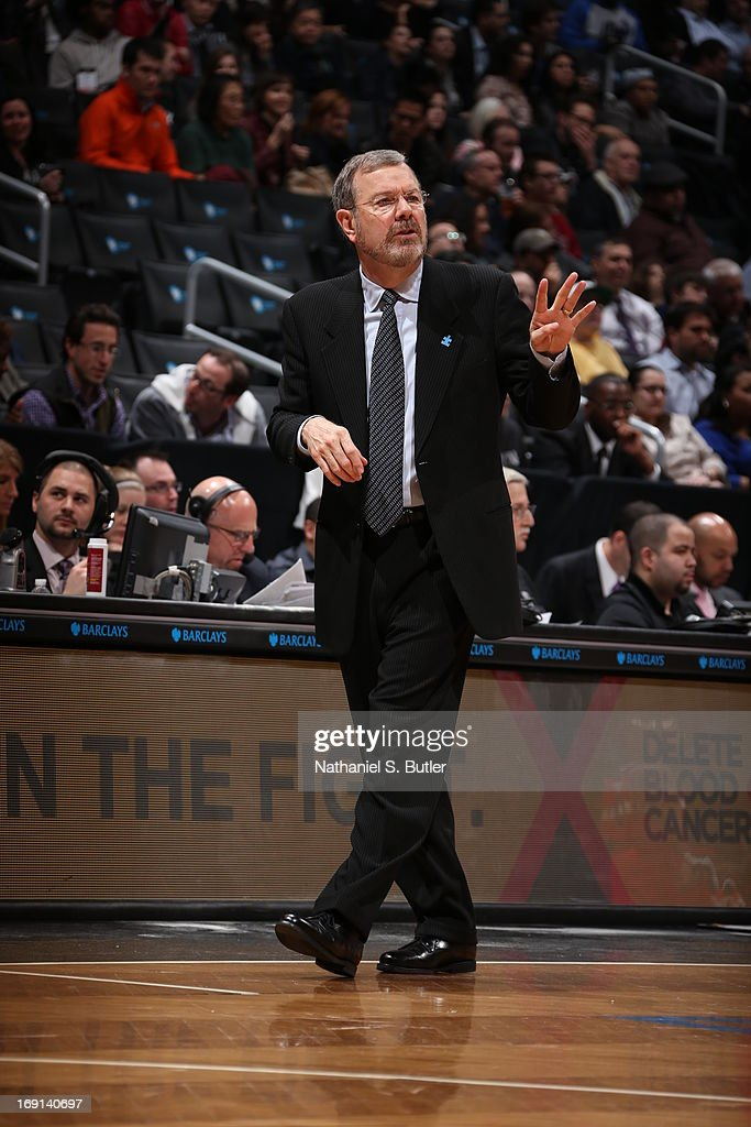 J Carlesimo Head Coach of the Brooklyn Nets calls a play during the game against the Washington Wizards on April 15 2013 at the Barclays Center in...
