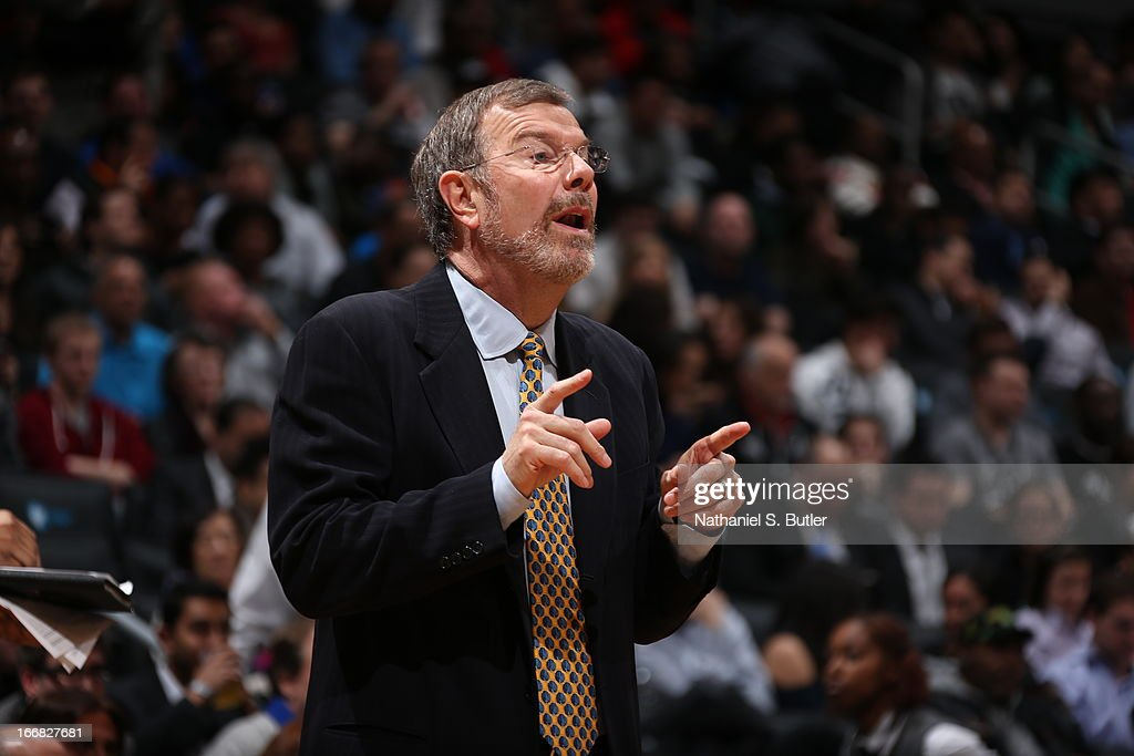 <a gi-track='captionPersonalityLinkClicked' href=/galleries/search?phrase=P.J.+Carlesimo&family=editorial&specificpeople=243247 ng-click='$event.stopPropagation()'>P.J. Carlesimo</a>, Head Coach of the Brooklyn Nets directs his team during the game against the New Orleans Hornets on March 12, 2013 at the Barclays Center in the Brooklyn borough of New York City.